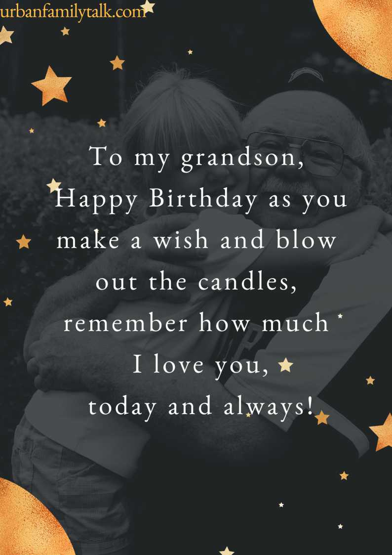 To my grandson, Happy Birthday as you make a wish and blow out the candles, remember how much I love you, today and always!