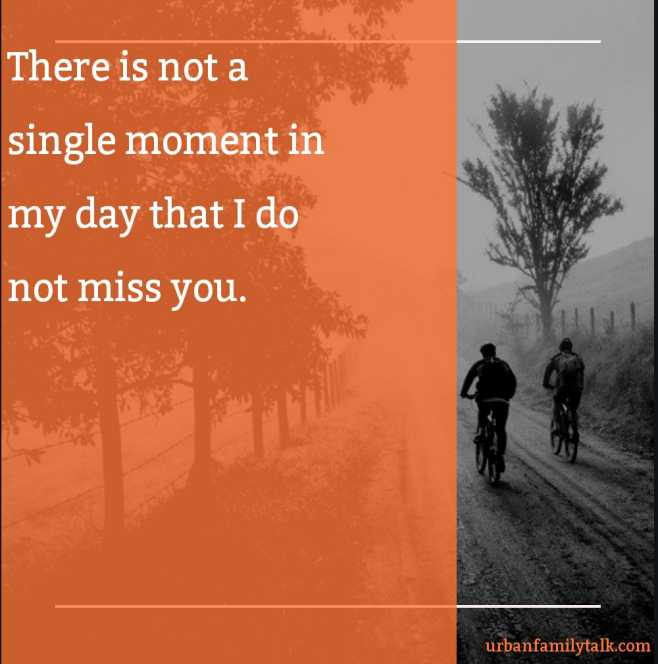 There is not a single moment in my day that I do not miss you.