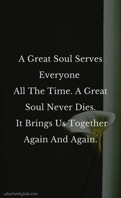 A Great Soul Serves Everyone All The Time. A Great Soul Never Dies. It Brings Us Together Again And Again.