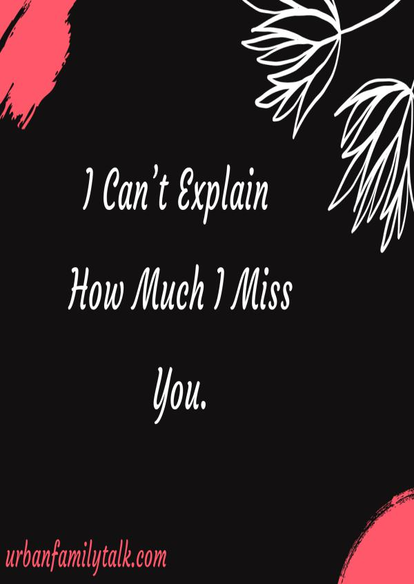 I Can't Explain How Much I Miss You.